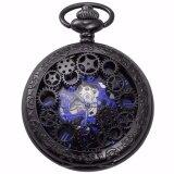 ราคา แฟชั่น Blue Analog กลวงผู้ชายกลไกการเคลื่อนไหวนาฬิกากับห่วงโซ่ยาว Steampunk มือนาฬิกาไขลานของขวัญ Wpk219 นาฬิกาข้อมือชายและหญิง สนามบินนานาชาติ