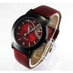 แฟชั่นผู้หญิงผู้หญิงผู้หญิงหรูหราเพชรสวย Quartz Wrist Watch   สีแดง.