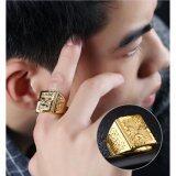 ขาย ซื้อ ออนไลน์ Fashion Gold Plated Men Rings Angel Wings Wide Big Finger Ring Adjustable Fashion Wedding Ring Punk Man Jewelry Intl