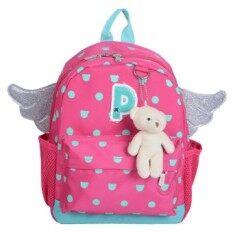 ขาย Fashion Kids Sch**l Backpack Cartoon With Small Bear Rose Red ออนไลน์