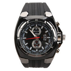 ขาย ซื้อ Fashion Men Sports Rubber Strap Quartz Dial Wrist Watch V6 0048 Black Intl จีน