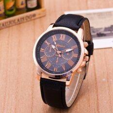 ขาย Fashion Pu Leather Band Round Analog Quartz Watch Women Lady Wristwatch Black Intl