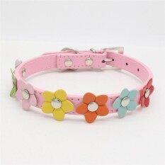 แฟชั่นหนังเทียมหนังสัตว์ Collar ดอกไม้ที่มีสีสัน Studded สัตว์เลี้ยงสุนัขสร้อยคอแมวสายคล้องคอ Xs/เอส/เอ็ม/ แอลสี: เด็กสีชมพูขนาด: เอส By Hossen.