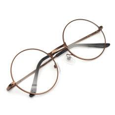 ขาย ซื้อ ออนไลน์ Fashion Women Men Vintage Round Mirror Lens Eyeglasses Glasses Eyewear Unisex Coffee Intl