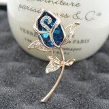 Fashion Women Noble Lovely Champagne Crystal Individuality Brooch ใหม่ล่าสุด