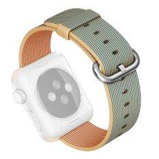 ซื้อ Fashion Woven Nylon Fabric Replacement Watchband Band Strap Bracelet Wrist Belt For Apple Watch Iwatch Series 1 2 42Mm Gold Blue Intl ออนไลน์