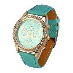 ขาย Fashionable Women Pu Leather Quartz Analog Round Watch Wristwatch Mint Green Intl ออนไลน์ จีน