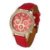 ขาย ซื้อ Fashionable Women Pu Leather Quartz Analog Round Watch Wristwatch Red Intl