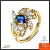 ราคา Feel Good Jewelry แหวนทองคำ 18K ประดับไพลินและเพชร Cz รุ่น Fg101852 เสริมดวงคนเกิด วันศุกร์ ไซด์ 9 Feel Good