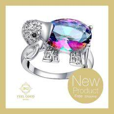 ราคา Feel Good Jewelry แหวนเงินแท้ ประดับด้วยเพชร Cz สีรุ้ง รูปช้าง ตัวเรือนสลัก S925 รุ่น Fgr 04896