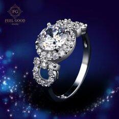 โปรโมชั่น Feel Good Jewelry แหวนเงินแท้ S925 ชุบทองคำขาวแท้ ประดับเพชร Cz ขนาด 2 กะรัต รุ่น Fgr101 Feel Good Jewelry
