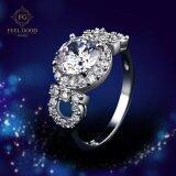 โปรโมชั่น Feel Good Jewelry แหวนเงินแท้ S925 ชุบทองคำขาวแท้ ประดับเพชร Cz ขนาด 2 กะรัต รุ่น Fgr101