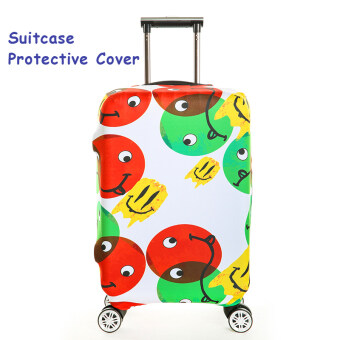 FLORA Stretchable Elasticy 18-20 inch Waterproof Suitcase Luggage Cover to Travel- Smile - intl