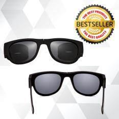 ขาย แว่นตากันแดดพับได้ Folding Sunglasses ขายางรัด สีดำล้วน แว่นกันแดด แว่นพับรัดแขน ออนไลน์
