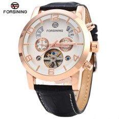 ซื้อ Forsining A165 Men Tourbillon Automatic Mechanical Watch Leather Strap Date Week Month Year Display Intl Unbranded Generic