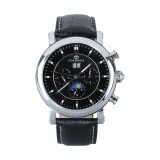 Forsining Auto Mechanical Six Pointers Dial Leather Band Wrist Watch Black Intl ถูก