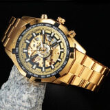 ทบทวน Forsining Stainless Steel Case And Leather Strap Men Male Fashion Business Sport Casual Skeleton Automatic Mechanical Wrist Watch Gold Black Intl Forsining