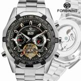 ขาย ซื้อ Forsining Stainless Steel Case Stainless Steel Strap Men Male Fashion Business Sport Casual Army Military Skeleton Automatic Mechanical Wrist Watch Gift Wristwatches 0048 Intl จีน