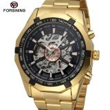ส่วนลด Forsining Top Brand Luxury Uhr Men Skeleton Automatic Mechanical Watches Gold Stainless Steel Vintage Mens Business Wristwatch Intl Forsining