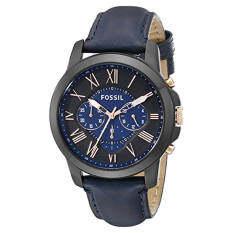 ราคา Fossil Men S Fs5061 Grant Black Stainless Steel Watch With Blue Leather Band Intl ใหม่