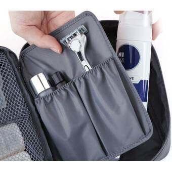 GENATRAVEL กระเป๋าเก็บเครื่องสำอาง กันน้ำได้ ถือพกพาสะดวก (สีเทา)