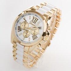 ขาย ซื้อ Geneva นาฬิกาข้อมือผู้ชายสายสแตนเลสสีขาวขลิบทอง หน้าปัดโครโนกราฟและตัวเลขโรมัน ใน สมุทรปราการ