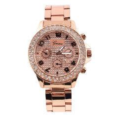 ราคา Geneva Analog Bling Women Rhinestone Wrist Watch Golden Rose Geneva สมุทรปราการ