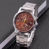 โปรโมชั่น Genevaนาฬิกาผู้ชาย นาฬิกาแฟชั่น นาฬิกาลำลอง นาฬิกาข้อมือสุภาพบุรุษ Silver Brownสายสแตนเลส