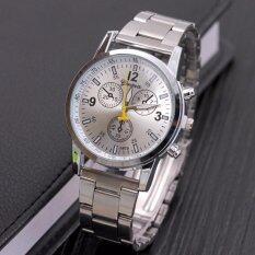 Genevaนาฬิกาผู้ชาย นาฬิกาแฟชั่น นาฬิกาลำลอง นาฬิกาข้อมือสุภาพบุรุษ Silver Whiteสายสแตนเลส ใน กรุงเทพมหานคร