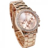 ขาย Geneva Watch นาฬิกาข้อมือแฟชั่นผู้หญิง สี Rose Gold ขอบเพชร สายเหล็ก รุ่น Wm0058 ใน Thailand
