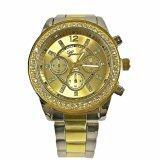 ราคา Geneva Watch นาฬิกาข้อมือแฟชั่นผู้หญิงผู้ชาย สายสแตนเลสทูโทน Two Tone สีทองเงิน ขอบเพชร รุ่น Wm0074 ถูก