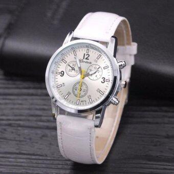GENEVAคู่รัก นาฬิกาผู้ชาย นาฬิกาแฟช นาฬิกาลำล นาฬิกาข้อมือผู้ชาย ขอบหน้าปัดทอง สีน้ำตาล/เรือนดำ สายหนังWHITE