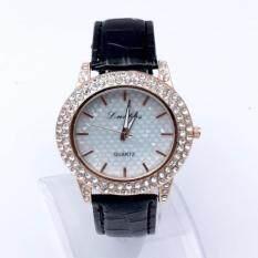 ซื้อ Geneva Women Watch นาฬิกาข้อมือผู้หญิง Pu Leather Strap Lb Black ออนไลน์ ถูก