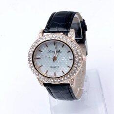 ขาย Geneva Women Watch นาฬิกาข้อมือผู้หญิง Pu Leather Strapc Black