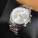 ส่วนลด Geneva นาฬิกาข้อมือผู้หญิง ลายแผนที่คริสตัล รุ่น Wp8528 Siver แถมซองนาฬิกาสุดหรู Geneva