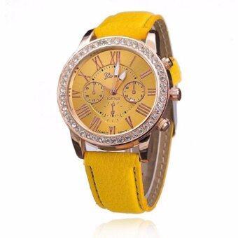 GENEVAผู้หญิงผู้หญิงเด็กหญิงเจนีวาเครื่องหนังผลึกโกลเด้นคริสตัลหิน Rome นาฬิกาข้อมือGP#004Yellow