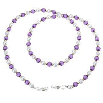 Glasses Beaded Neck Lanyard Cord Chain Strap For Spectacle Spectacles Sunglasses purple - Intl