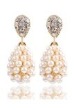 ขาย Gold Plated Alloy Simulated Pearl Long Drop Earrings Beige Unbranded Generic ใน จีน