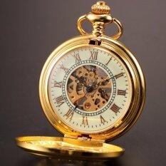 ซื้อ Gold Skeleton Luminous Men Mechanical Pendant Pocket Watch With Chain Wpk020 Intl ใน จีน