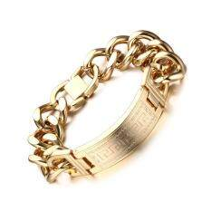 ราคา Greek Key Pattern Stainless Steel Bracelets Wristband Hand Chain For Men Jewelry Gold Color Intl ใหม่