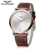 ราคา Guanqin Gs19026 Male Quartz Watch Nail Scale Ultrathin Watch Case Genuine Leather Band Wristwatch Gold Intl เป็นต้นฉบับ Guanqin