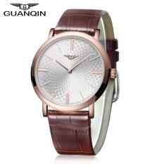 ราคา Guanqin Gs19026 Male Quartz Watch Nail Scale Ultrathin Watch Case Genuine Leather Band Wristwatch Gold Intl ใน จีน