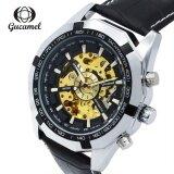 ซื้อ Gucamel G043 Men Auto Mechanical Watch Hollow Dial Luminous Genuine Leather Band Wristwatch Intl ออนไลน์ ถูก