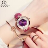 ขาย Guou Luxury Glitter Rhinestone Leather Band Women Watch Purple Intl ผู้ค้าส่ง