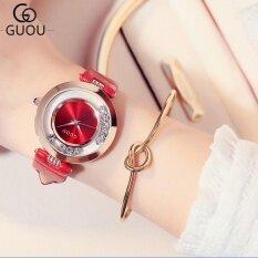 ขาย Guou Luxury Glitter Rhinestone Leather Band นาฬิกาผู้หญิง สีแดง ออนไลน์ จีน