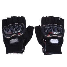 ทบทวน ที่สุด ถุงมือแบบสวมครึ่งนิ้ว สำหรับการขี่จักรยานยนต์ กีฬากลางแจ้ง อุปกรณ์ป้องกันการขับขี่ ไซส์ L สีดำ