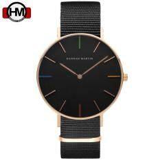 โปรโมชั่น Hannah Martin นาฬิกาข้อมือผู้หญิง สายผ้าไนลอนดำ หน้าปัดดำ ขอบทอง รุ่น Hm W07 กรุงเทพมหานคร