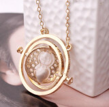 ขาย Harry Potter Time Turner Necklace Hermione Granger Rotating Spins Gold Hourglass Gold Gray ราคาถูกที่สุด