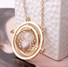 ราคา Harry Potter Time Turner Necklace Hermione Granger Rotating Spins Gold Hourglass Gold Gray ใหม่