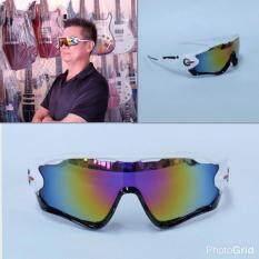 โปรโมชั่น Hayashi แว่นตาสำหรับปั่นจักรยาน แว่นตากันแดดเล่นกีฬา รุ่น Classic Joker เลนส์สีเทา กรอบสีขาว ดำ ถูก